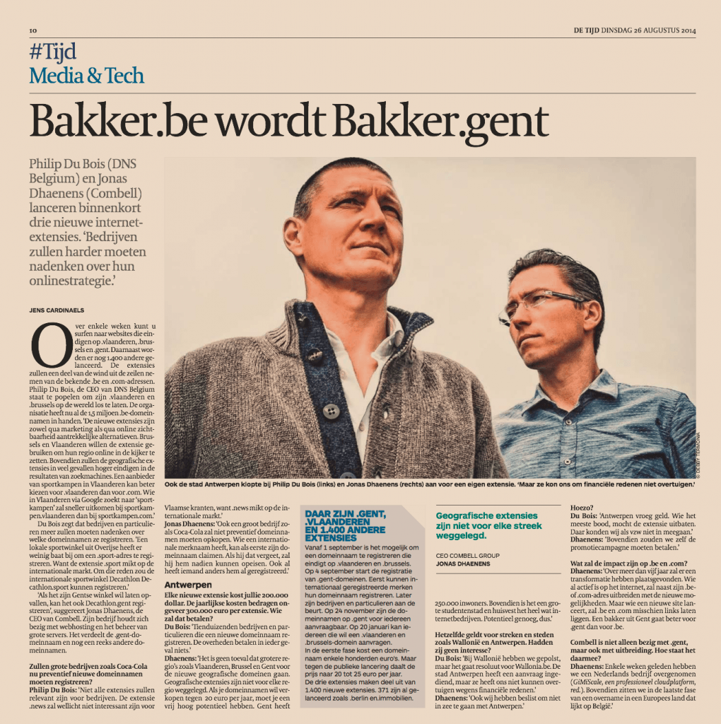 Article in Dutch in De Tijd of 26st of Augustus 2014