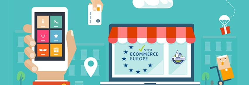 Ecommerce Europe label for webshops with BeCommerce label