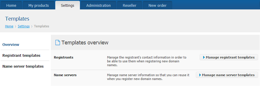 New reseller features - Manage Name server templates