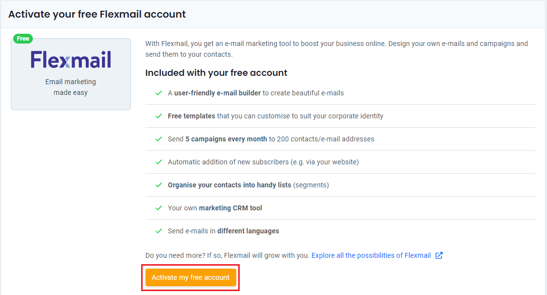 Activate free e-mail marketing account