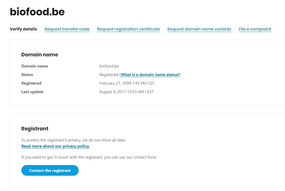 Domain name owner contact details example