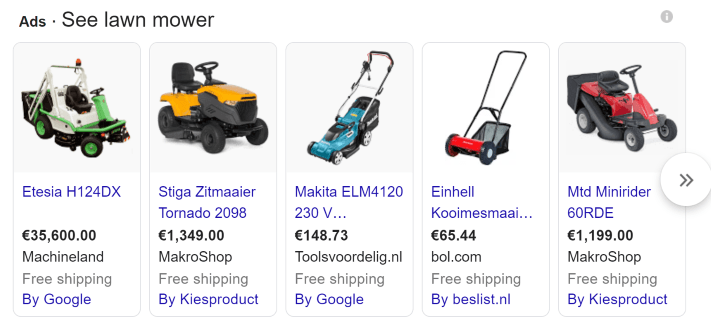 Google shopping paid SEA results