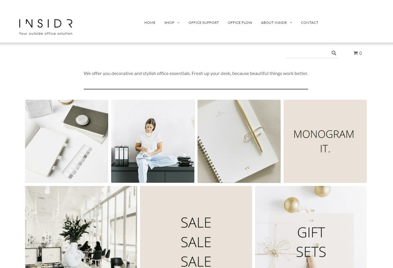 INSIDR webshop products - ShopBuilder