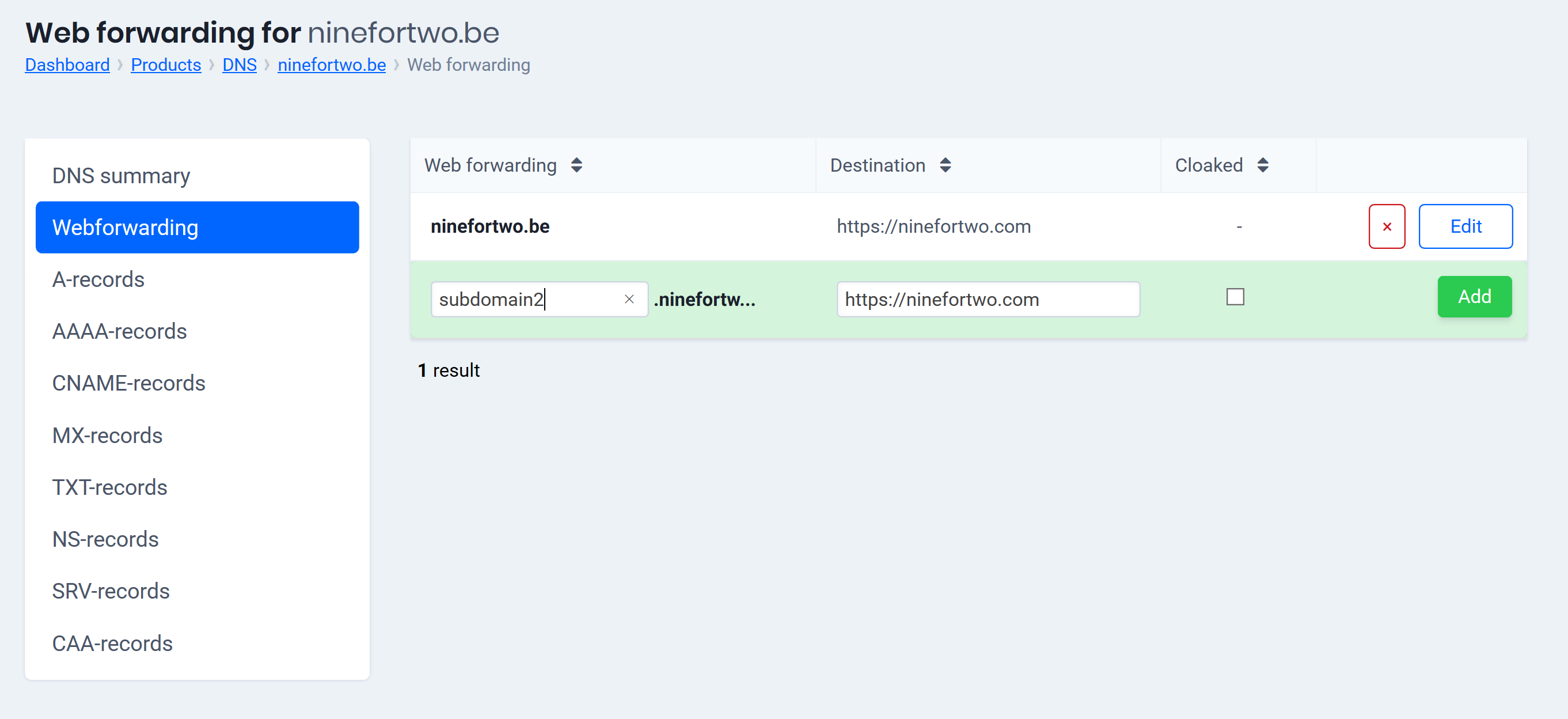 Webforwarding: advanced options
