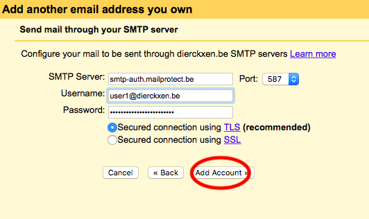 Fill in the settings for your SMTP server