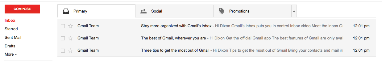 Overview e-mails