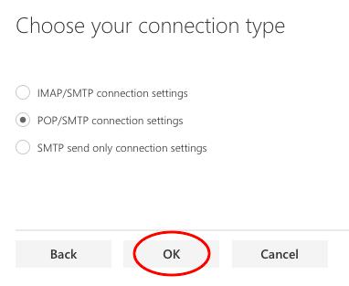 Choose connection type (POP)