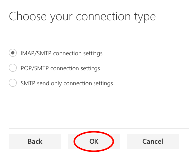 Choose connection type (IMAP)