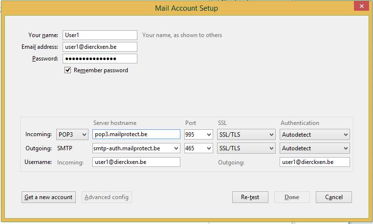 Mail Account Setup POP3 + SSL