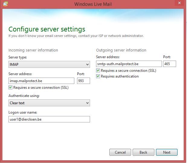 Configure server settings (IMAP)