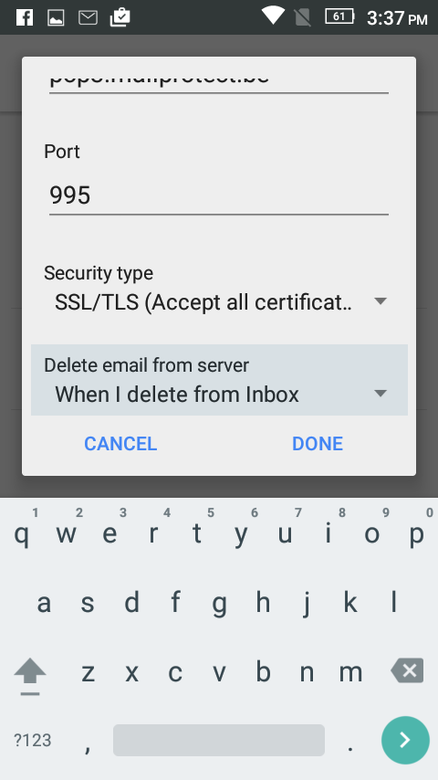 Delete email from server > When I delete from inbox