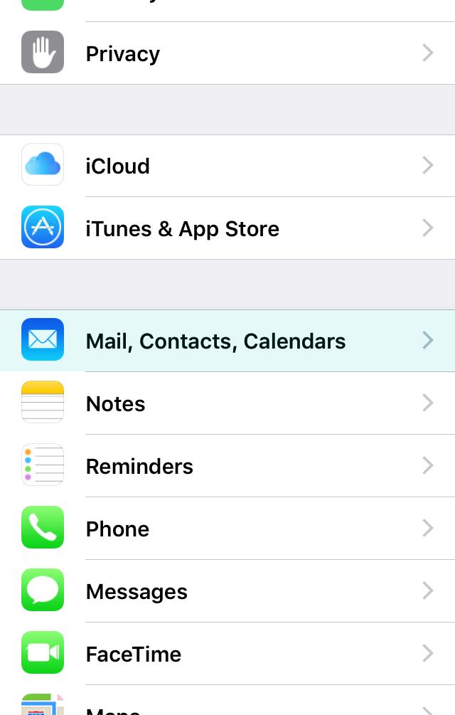 Follow 'Mail, Contacts, Calendars'