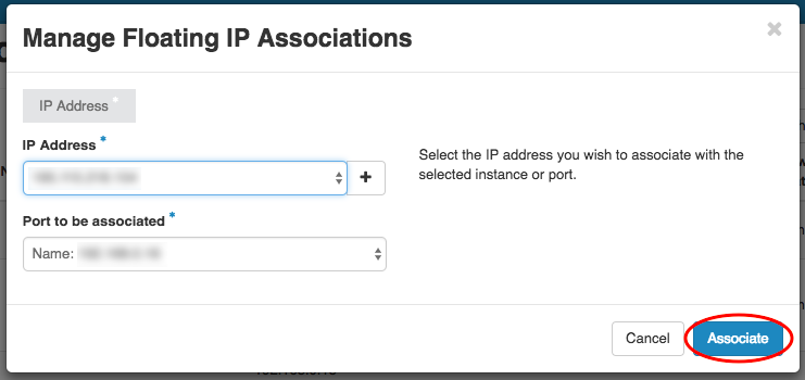 Manage floating IP Associations