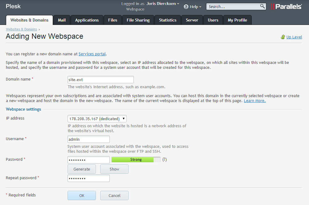 Form to add new webspace