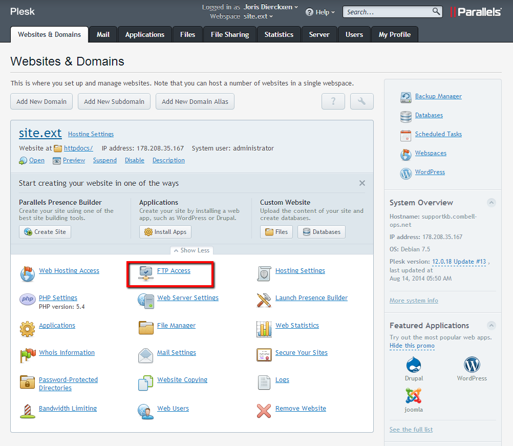 Websites & domains > FTP Access