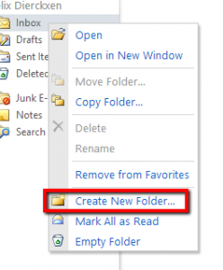 Right click on 'Inbox' > 'Create new folder'