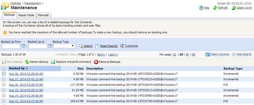 Created backups