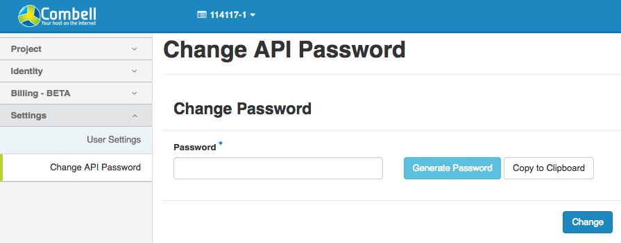 Change API password