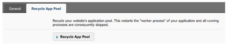 Recycle App Pool tab
