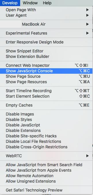 Develop >> JavaScript Console