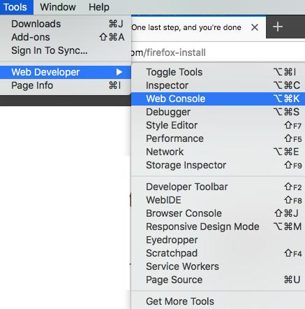Tools >> Web Developer >> Web Console