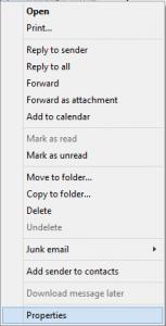 Context menu > Properties