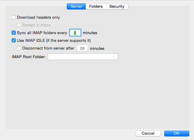 Additional settings: servers