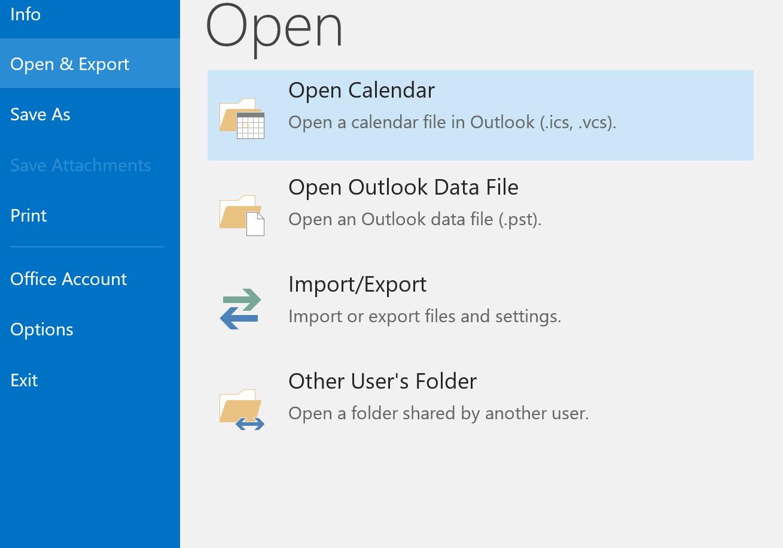 Open > import/export