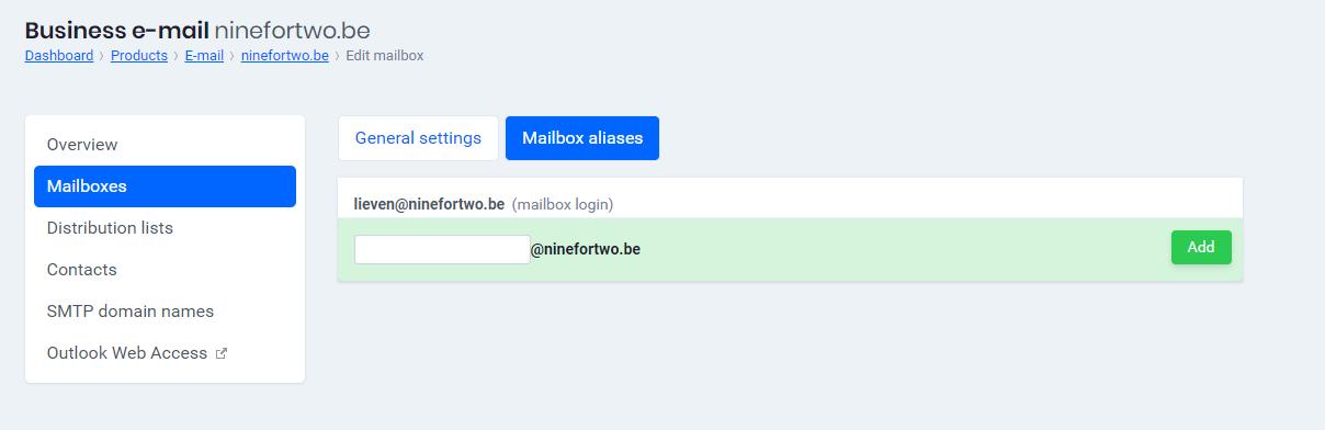 Add Mailbox aliases