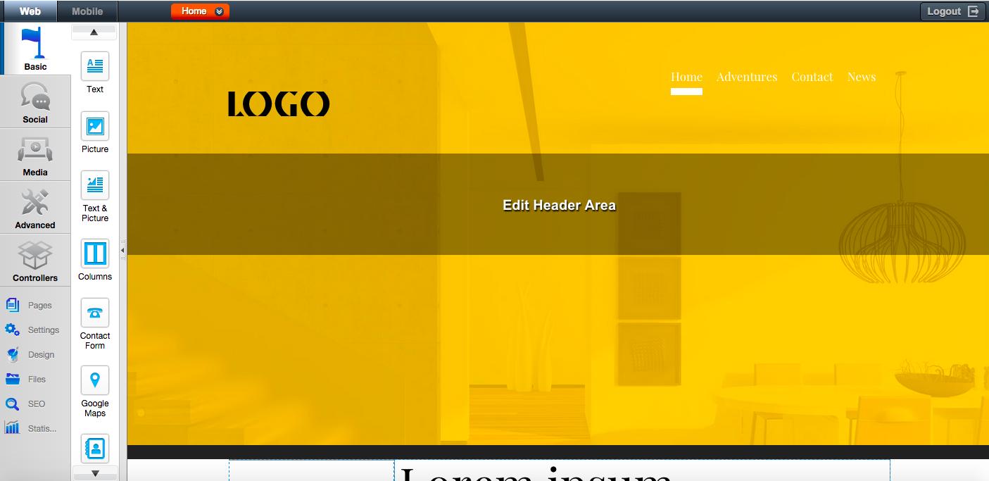 Edit Header Area