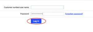 Log in control panel
