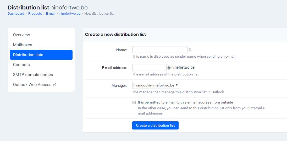 Create a new distribution list