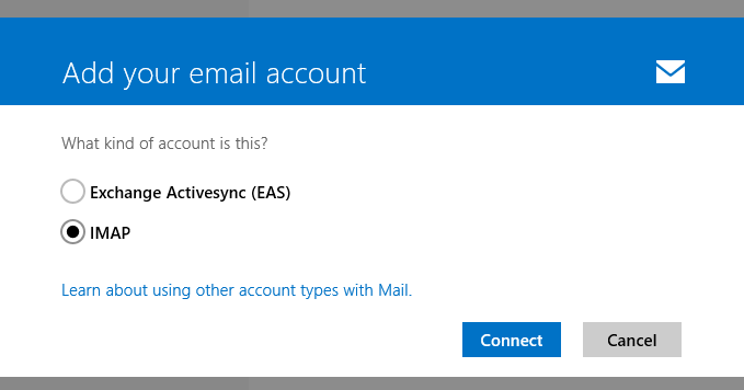 Add email account >> IMAP