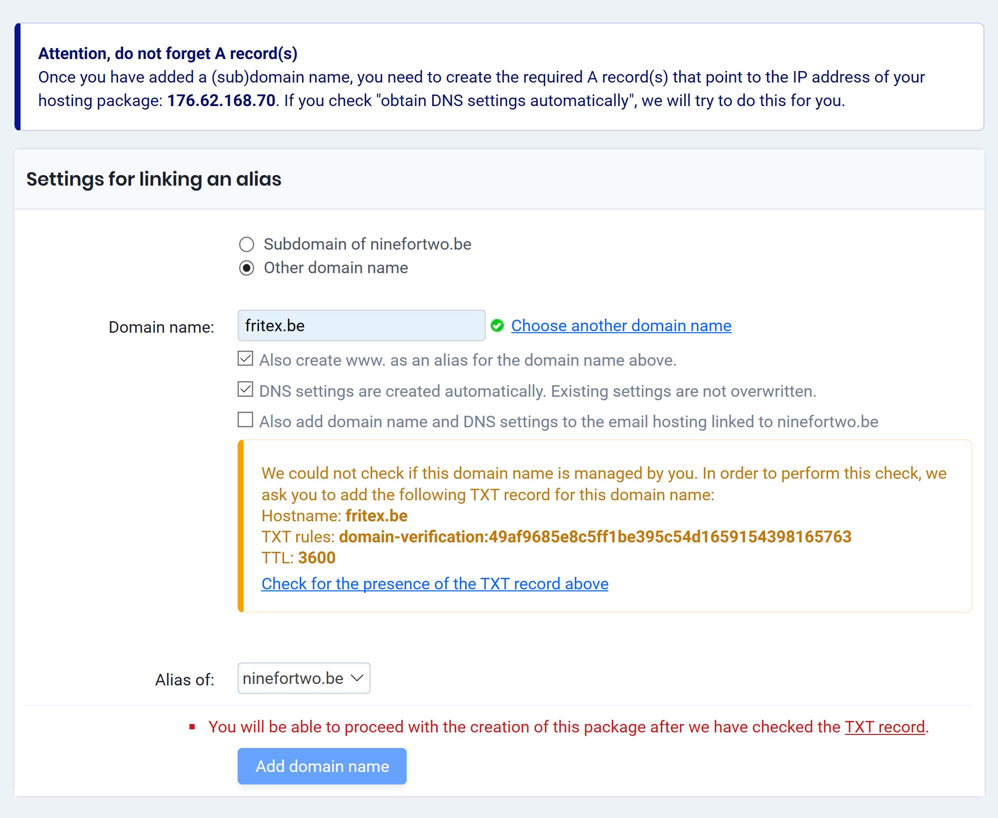 Settings for linking alias