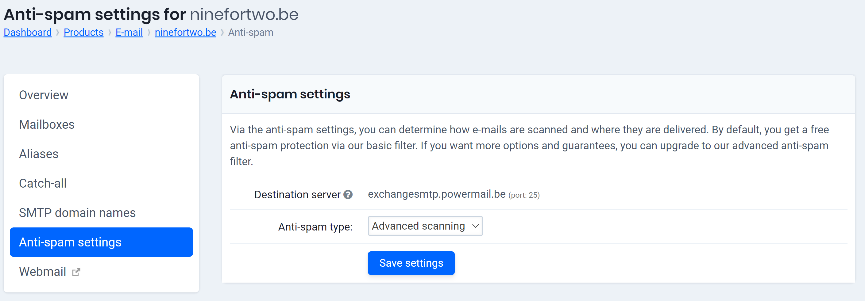 Activate advanced spam filtering as a customer