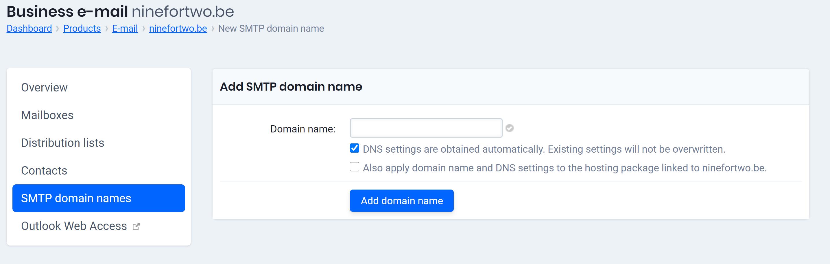 add smtp domain name