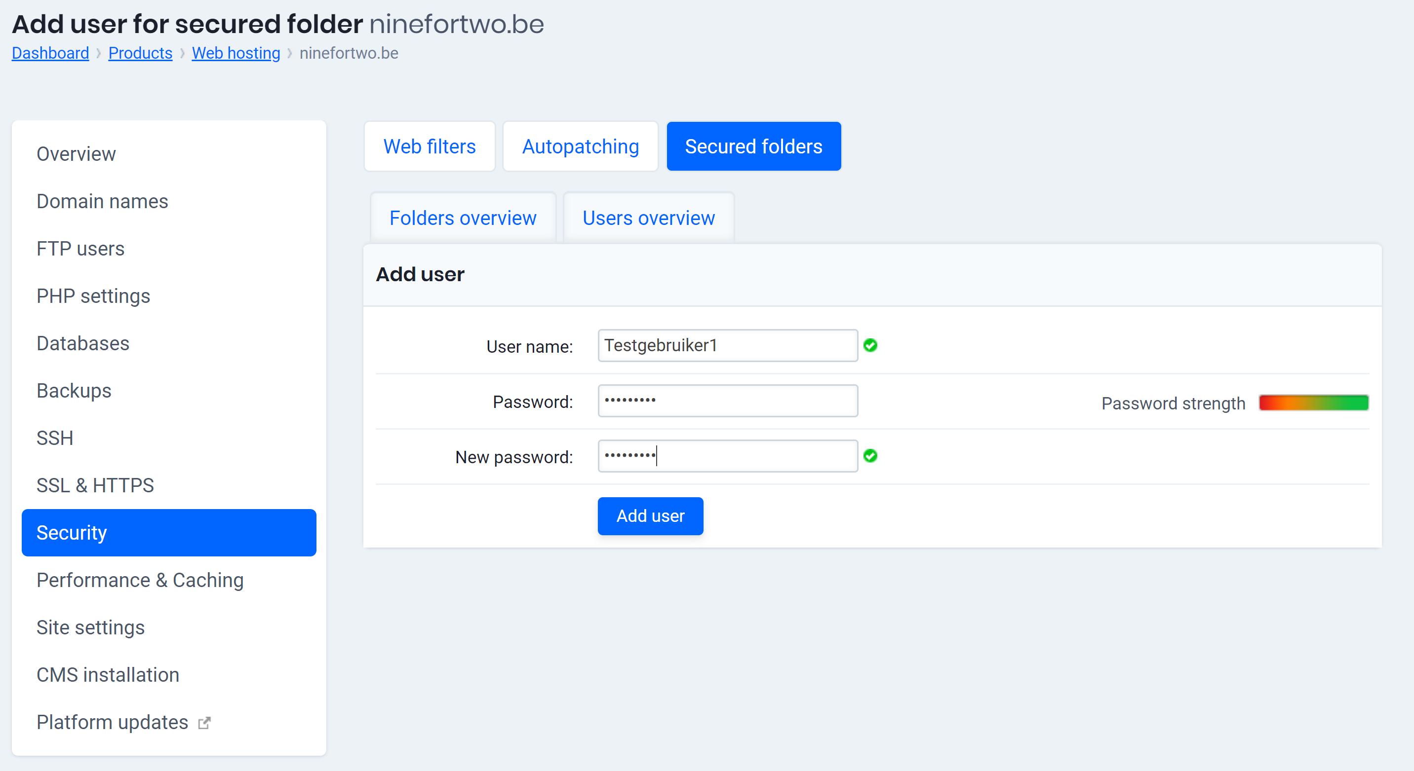 add user for secured folder