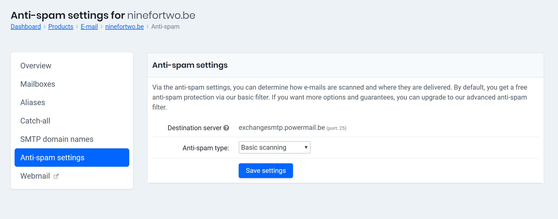 anti-spam settings
