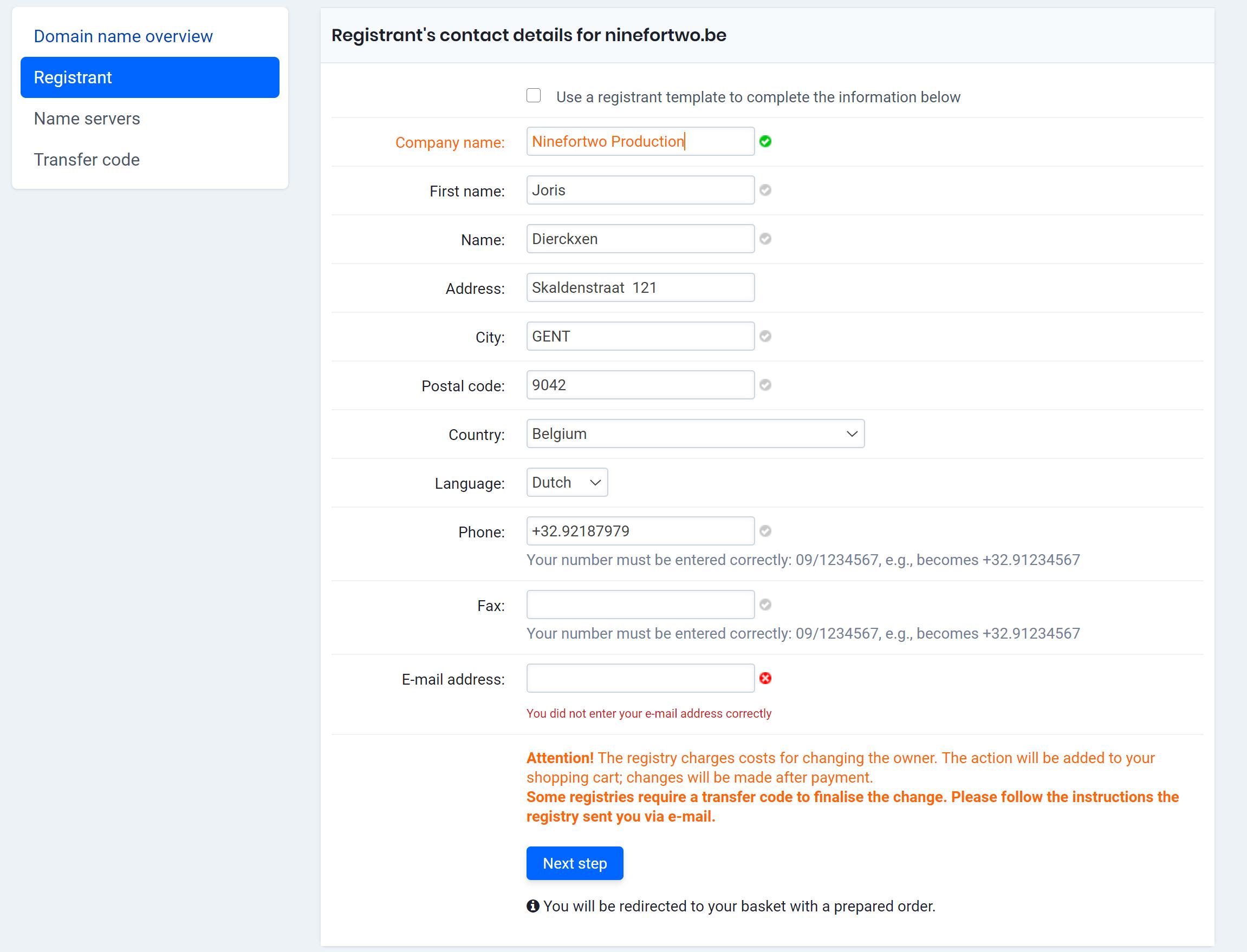 change registrant information