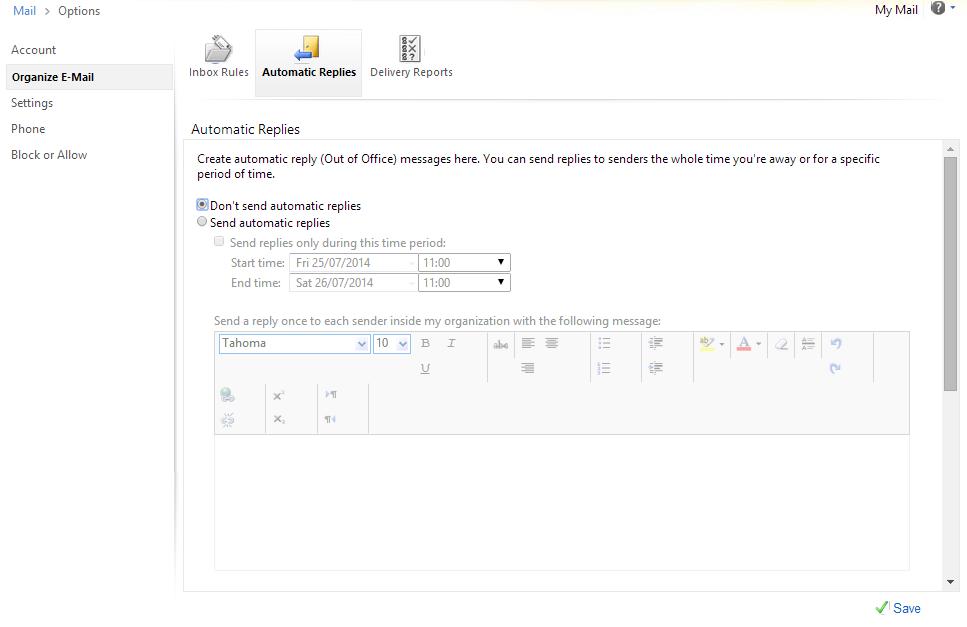 Click on 'Organize E-mail'