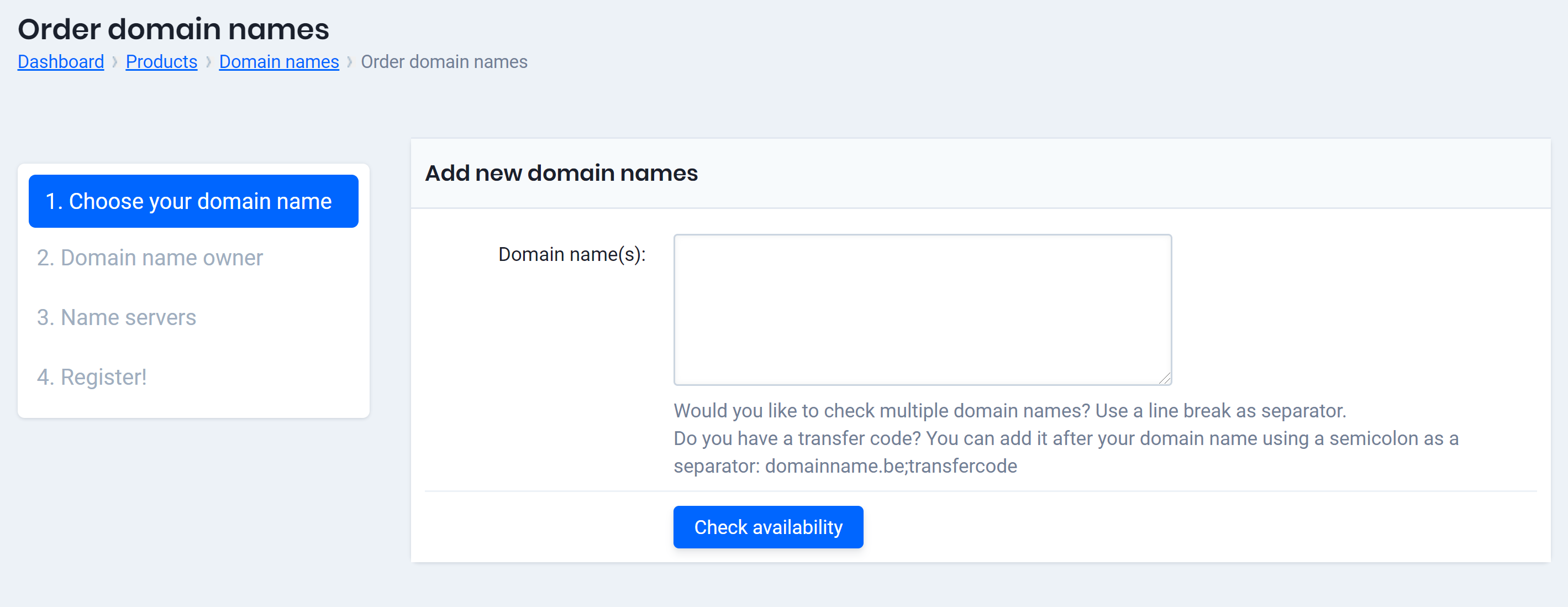templates for domain name registration