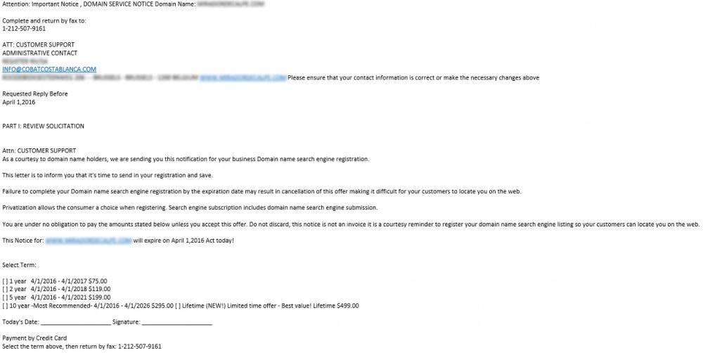 Exemple nouveaux messages spam fraude nom de domaine
