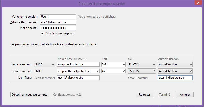 Création d'un compte courrier IMAP + SSL
