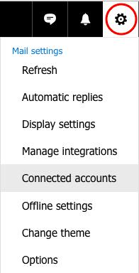 Cliquez sur la roue dentée et sélectionnez ensuite 'Connected accounts'