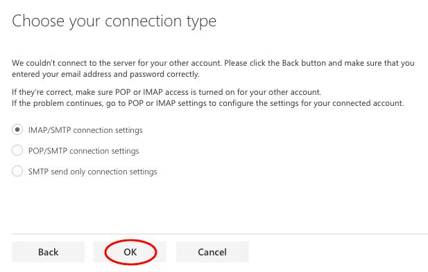 choisir votre type de connexion (IMAP)