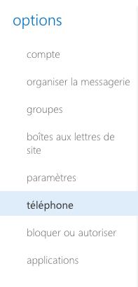 Options > Téléphone