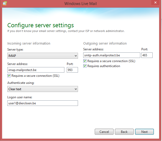 Configurez les paramètres de votre serveur (IMAP)