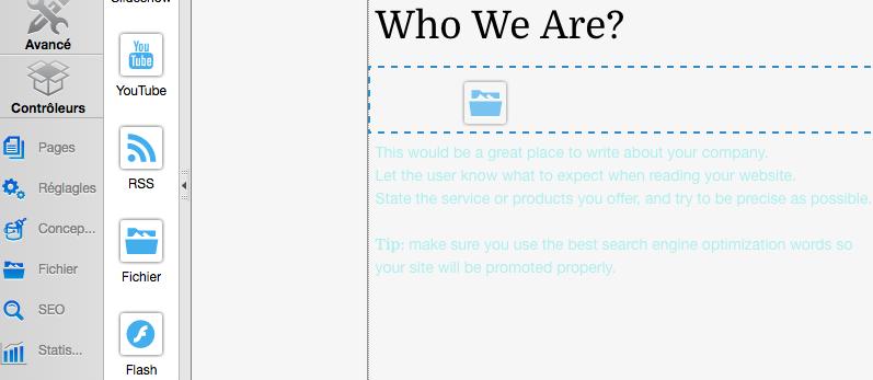 Glissez-déposez le widget Fichier