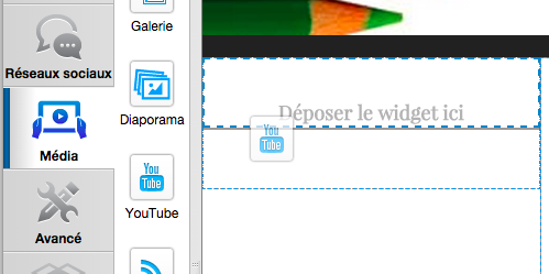 Glissez-déposez le widget YouTube
