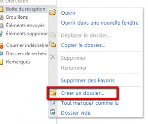 un clic droit sur 'Boîte de réception' > 'Créer un dossier'